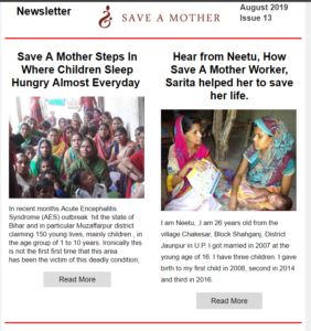save a mother august newsletter