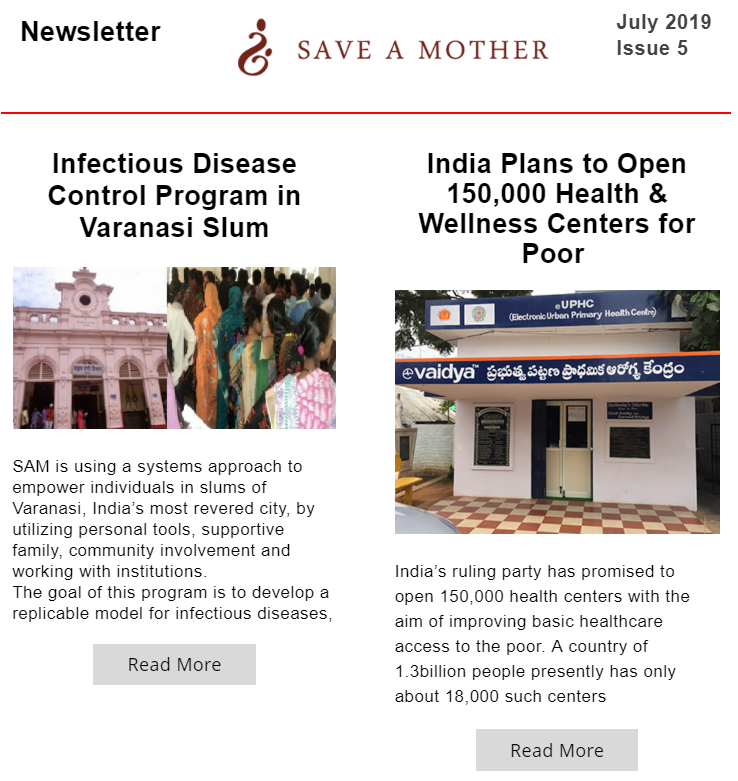 save a mother july month news letter